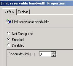 Limit Reservable Bandwidth Properties